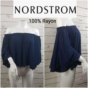 Nordstrom 100% rayon navy boho off shoulder top